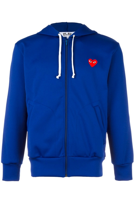 COMME DES GARÇONS PLAY  embroidered logo hoodie BLUE