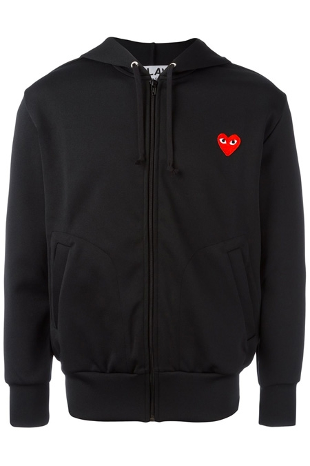 COMME DES GARÇONS PLAY  embroidered logo hoodie BLACK