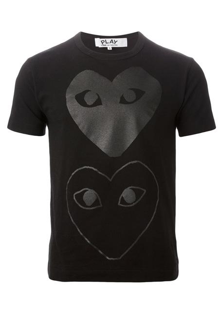 COMME DES GARÇONS PLAY  heart print T-shirt BLACK