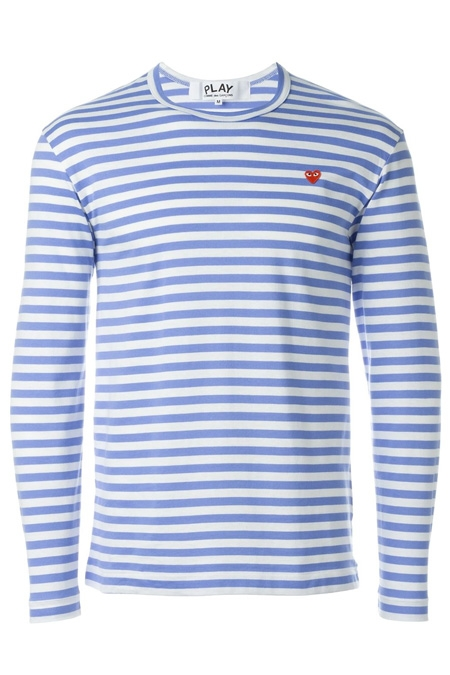 COMME DES GARÇONS PLAY  striped crew neck sweatshirt Light Blue