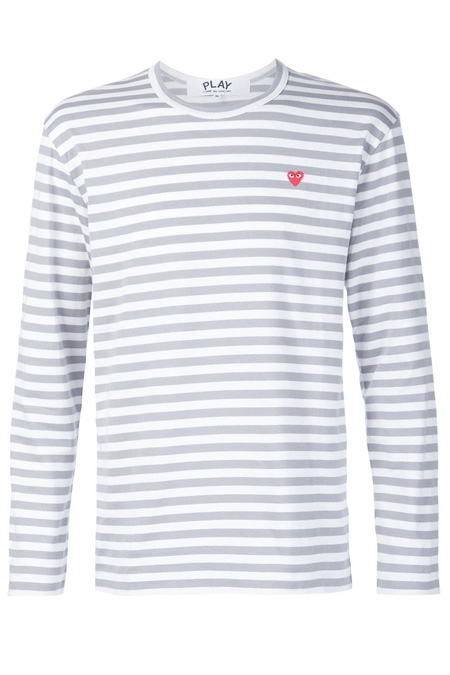 COMME DES GARÇONS PLAY  striped crew neck sweatshirt Light Grey