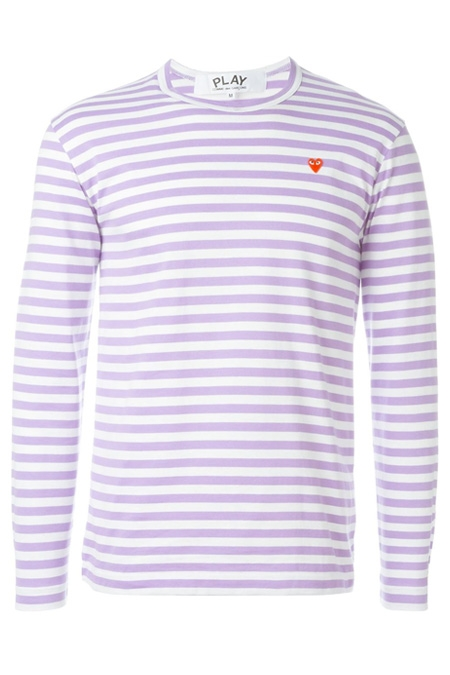 COMME DES GARÇONS PLAY  striped crew neck sweatshirt Purple