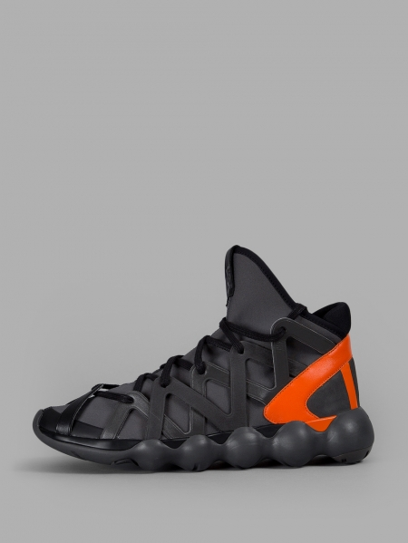 Y-3 MEN'S DARK GREY ORANGE KYUJO HIGH SNEAKERS F/W 16