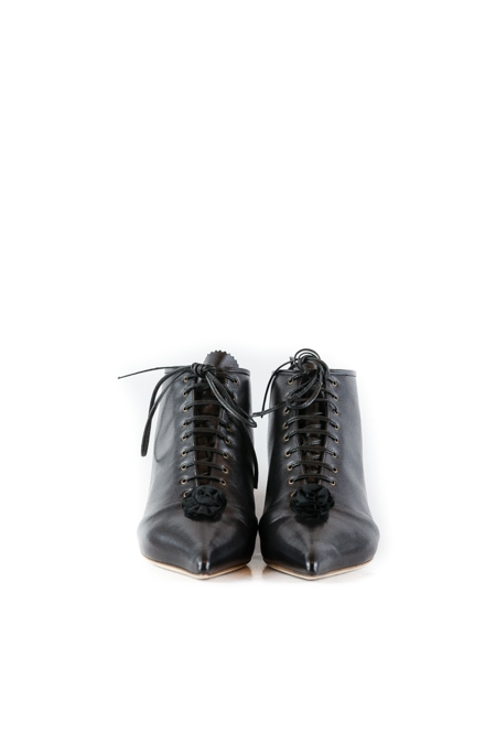 LACE UP ROSETTE BOOTS