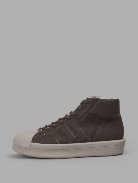 RICK OWENS x ADIDAS MEN'S BROWN PRO MODEL SNEAKERS F/W 16