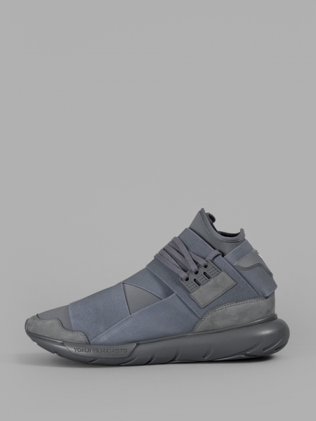 Y-3 MEN'S GREY QASA SNEAKERS F/W 16