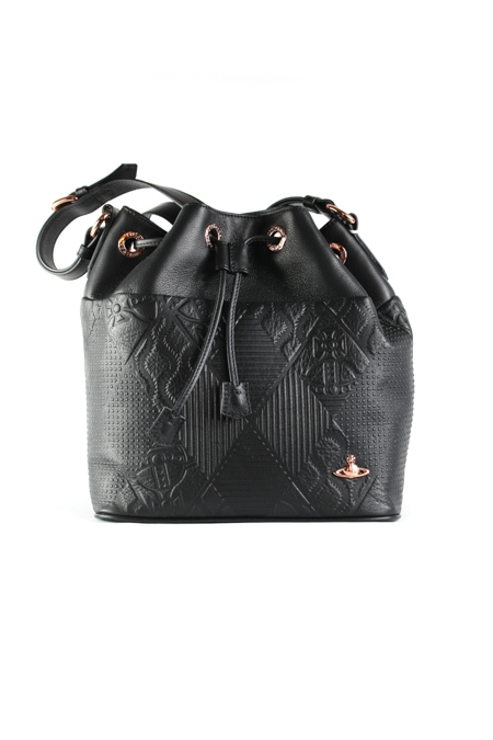 Hogarth embossed leather bucket bag