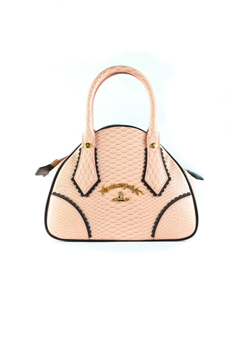 Frilly snake-embossed shoulder bag