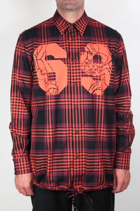 RED TARTAN DRAWSTRING OVER SHIRT