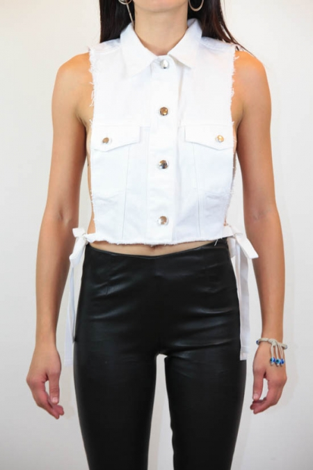 side tie denim vest